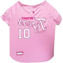 Pets First MLB Detroit Tigers Dog Jersey, Large, Pink