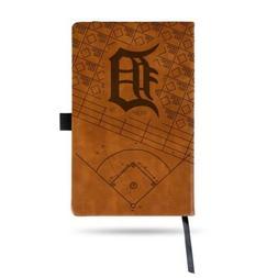 MLB Detroit Tigers Laser Engraved Leather Notebook - Brown