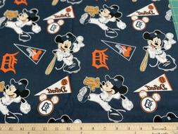 MLB DETROIT TIGERS MICKEY MOUSE, HALF yard  100% Cotton Fabr
