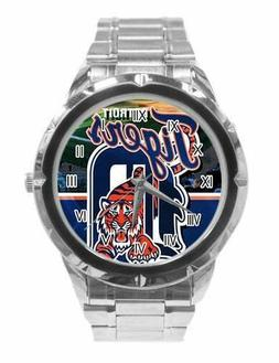 MLB  Detroit Tigers Watch Men's Stainless Steel Band Blue an