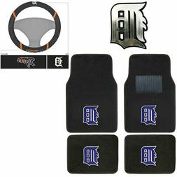 New 6pc MLB Detroit Tigers Car Truck Floor Mats Steering Whe